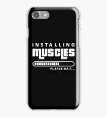 Installing Muscles Please Wait Funny Pun iPhone Case/Skin
