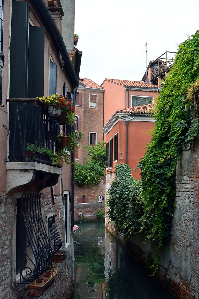 6 June 2017 Old buildings in Venice, italy along the canal with bridge by oanaunciuleanu