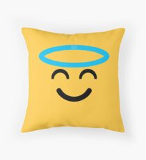Emoji - Smiling Face with Halo Throw Pillow