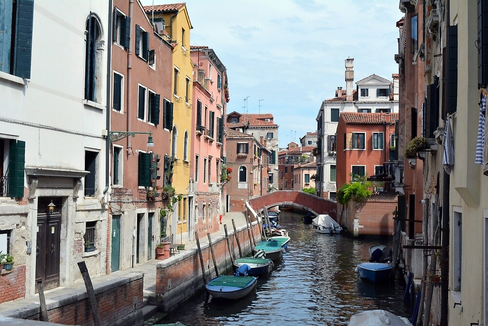 Picturesque buildings from Venice, Italy along the canal. by oanaunciuleanu