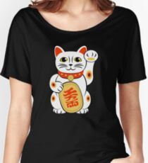 Maneki Neko Japanese Kawaii Lucky Cat Women's Relaxed Fit T-Shirt