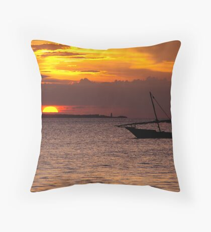 Zanzibar Dhow Sunset Throw Pillow