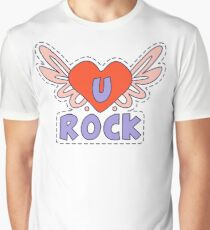 Rock Winged Heart Bright Graphic T-Shirt