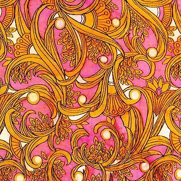 Pink Art Nouveau vintage print by darkydoors