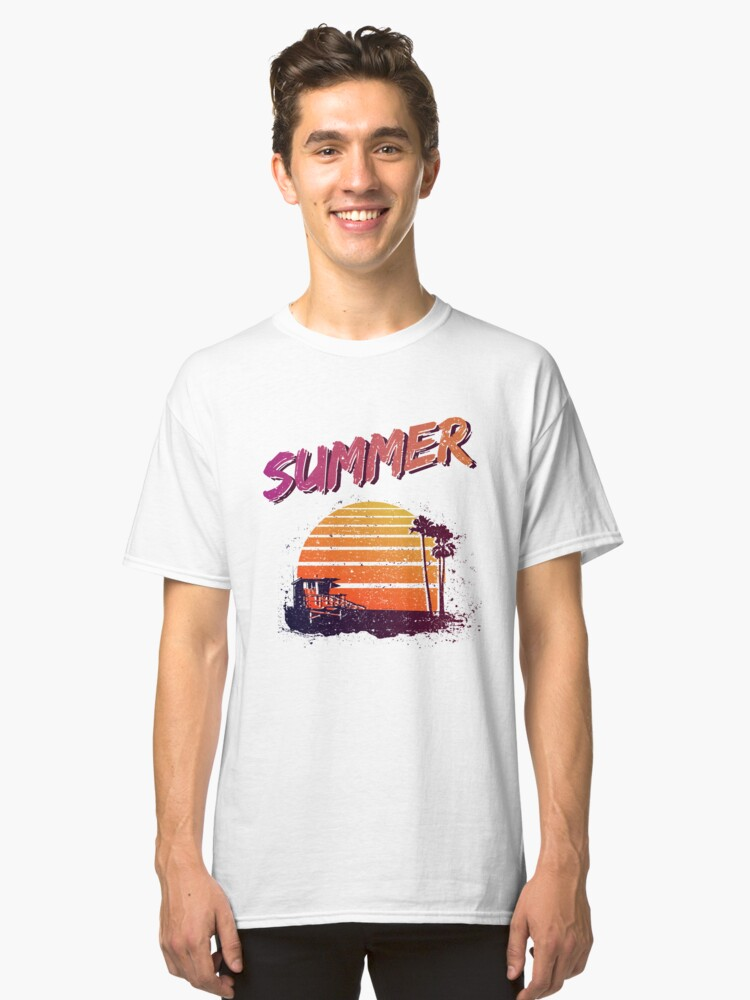 Retro Summer Sunset Classic T-Shirt Front