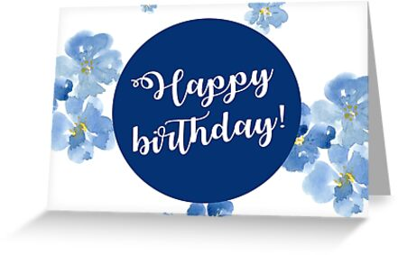 Little Blue Flowers ~ Birthday Card by ApricotBlossom