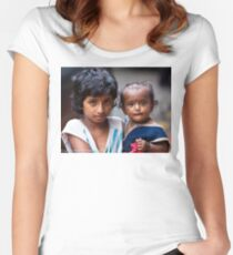 Little Girl With Baby Sister Women's Fitted Scoop T-Shirt