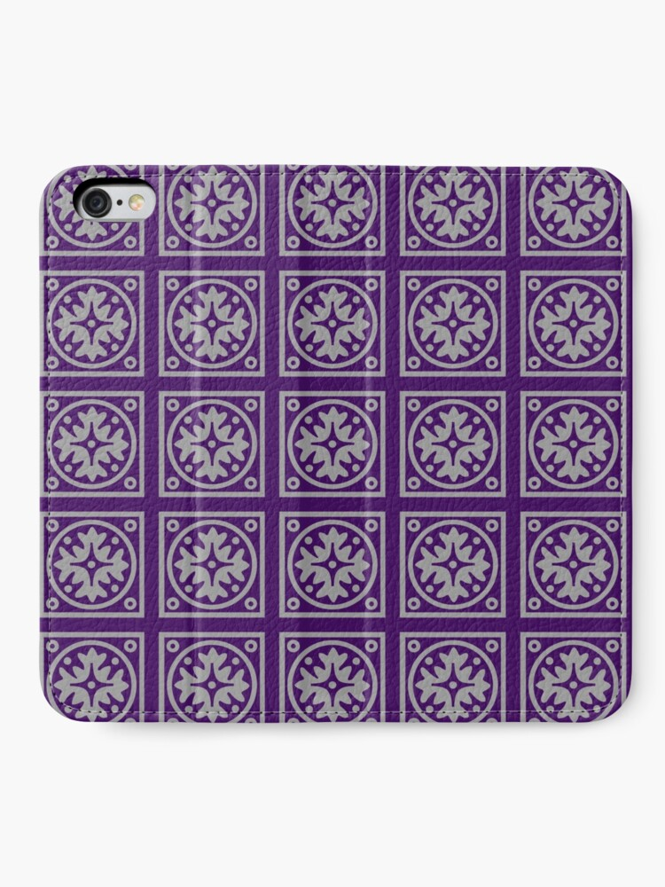 Alternate view of Floral Tile Purple and Grey Repeat Seamless Pattern iPhone Wallet
