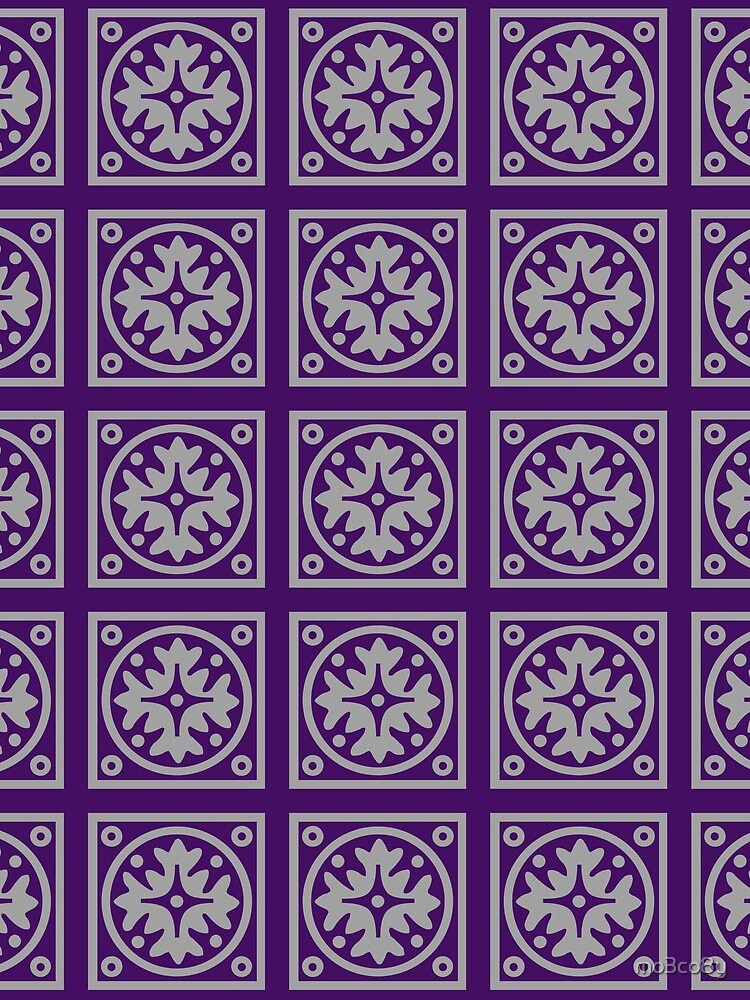 Floral Tile Purple and Grey Repeat Seamless Pattern by mo3co8y