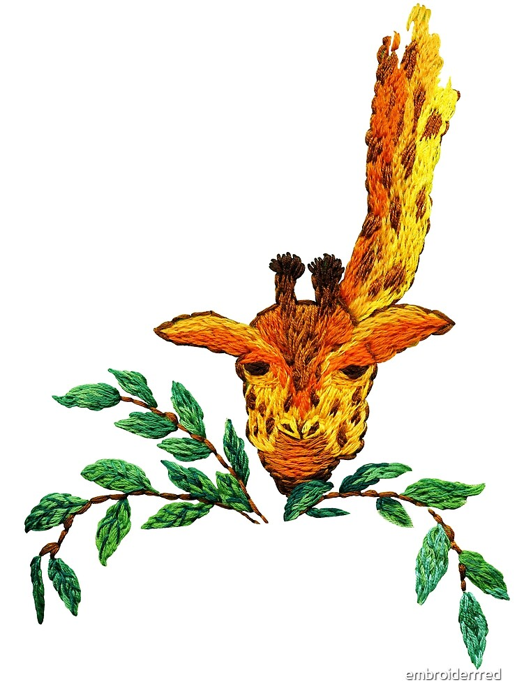 Embroidered giraffe with leaves by embroiderrred