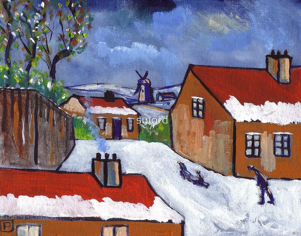 Dutch village snowscene by sword