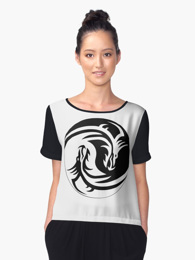 The Yin Yang Dragon Women's Chiffon Top Front
