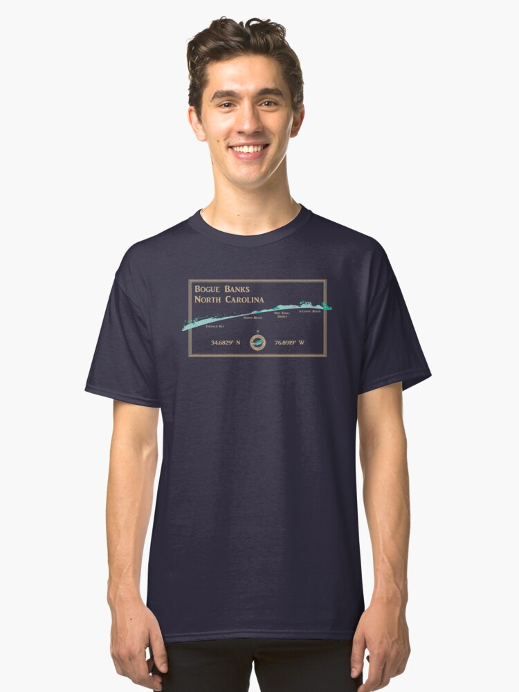 Bogue Banks, NC map by The Sandpiper Shirt Co. Classic T-Shirt Front