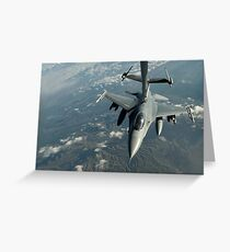 A U.S. Air Force F-16C Fighting Falcon conducts aerial refueling. Greeting Card