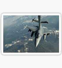 A U.S. Air Force F-16C Fighting Falcon conducts aerial refueling. Sticker