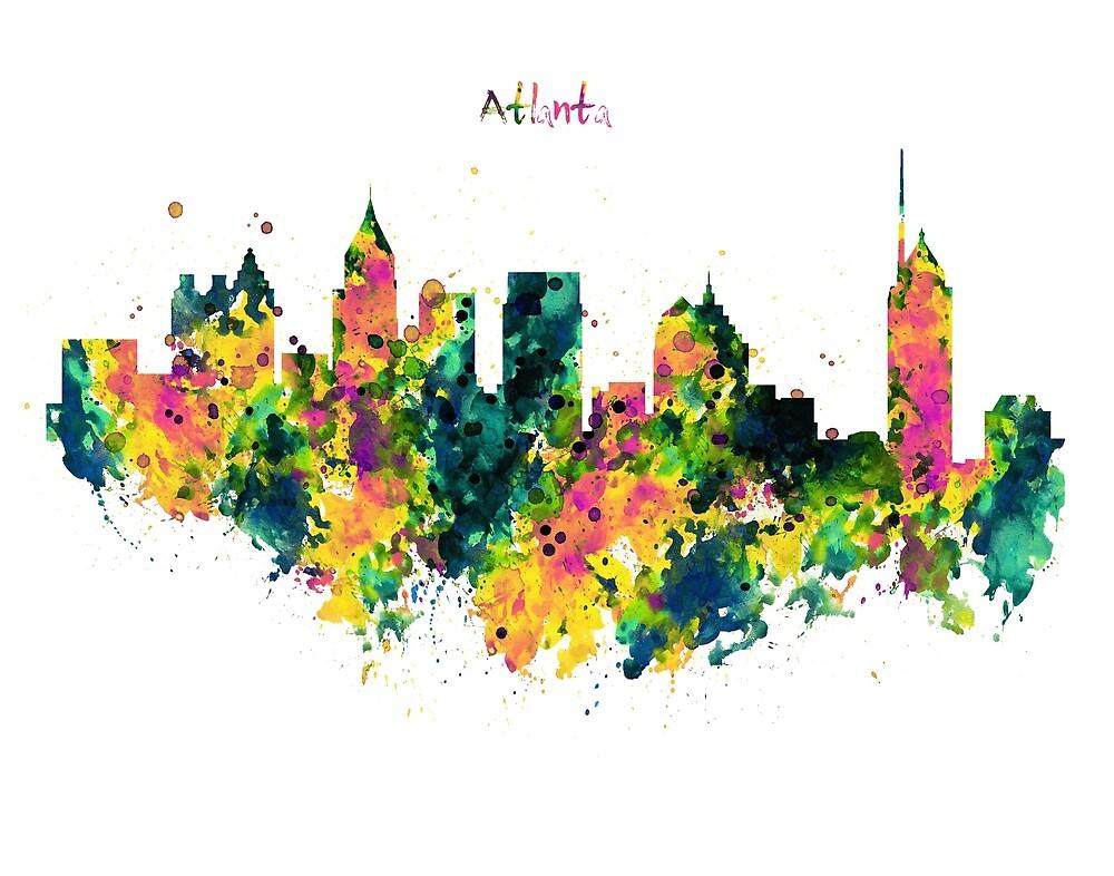 Atlanta Watercolor Skyline  by Marian  Voicu