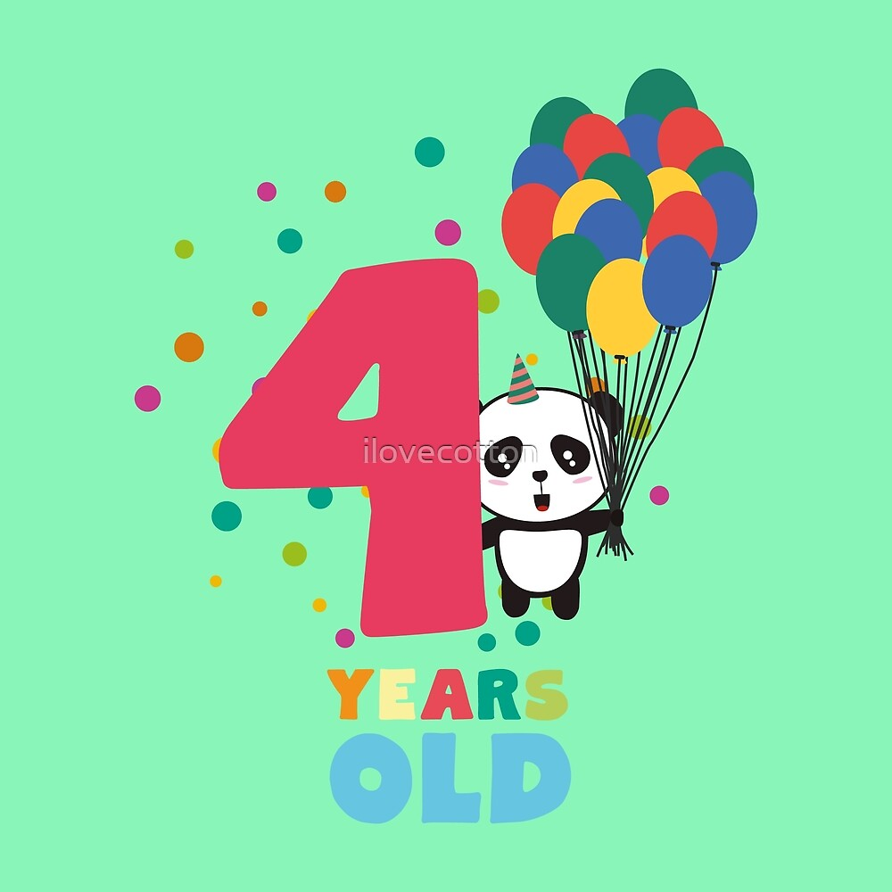 Four Years fourth Birthday Party Panda Rbcrf by ilovecotton