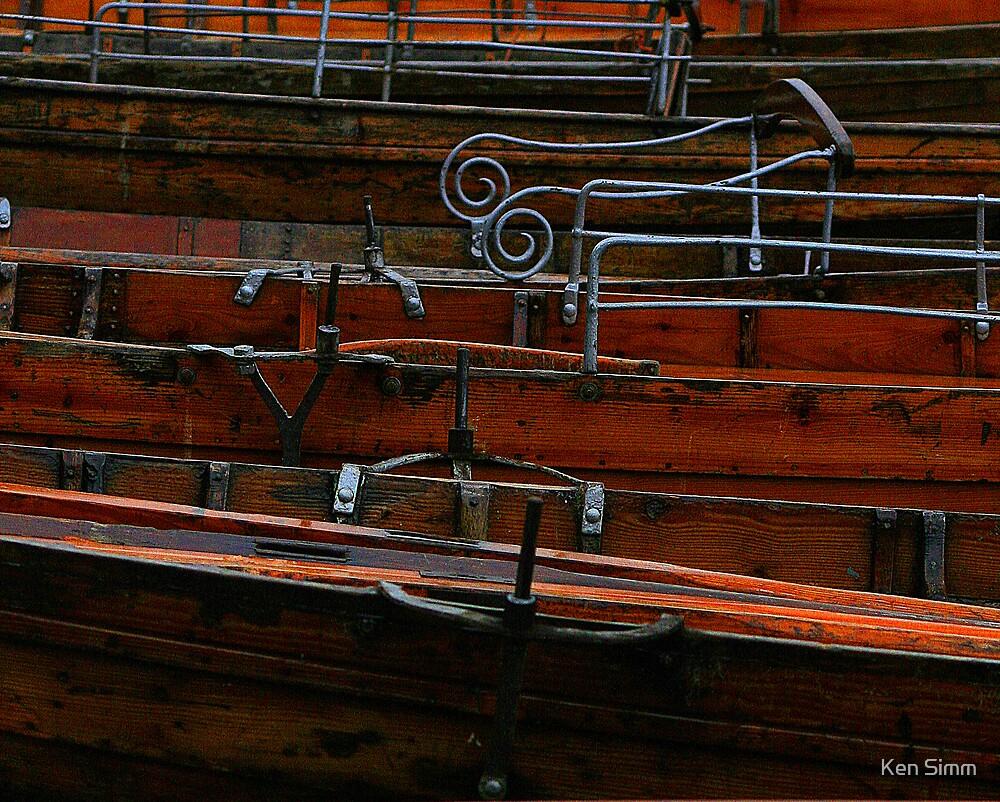Row boats in the Rain by Kenart