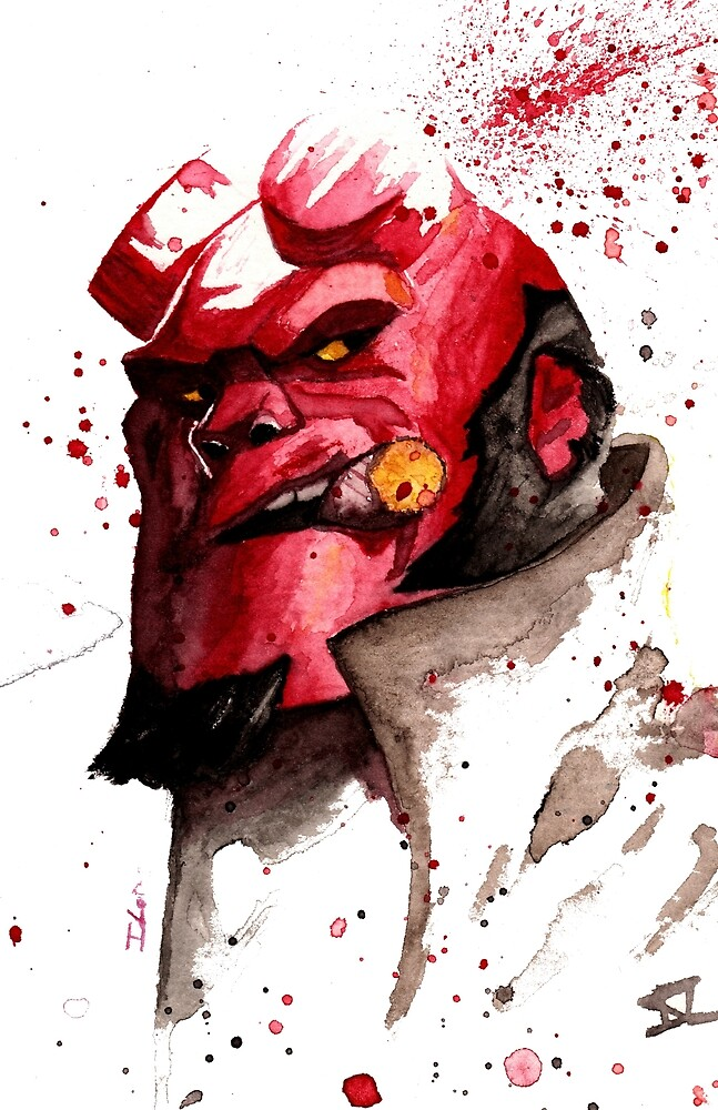 Hellboy Watercolor Design Comic Fanart by ILoresart