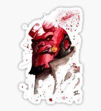 Hellboy Watercolor Design Comic Fanart Sticker