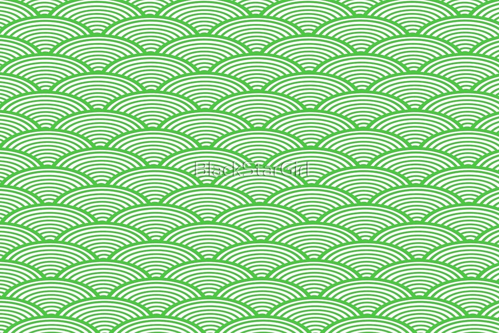 Japanese Green Fish Scales Wave Pattern by BlackStarGirl