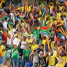 South African football fans oil paint effect,. by stuwdamdorp