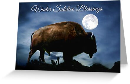 Buffalo Winter Solstice Blessings Card by Stephanie Laird