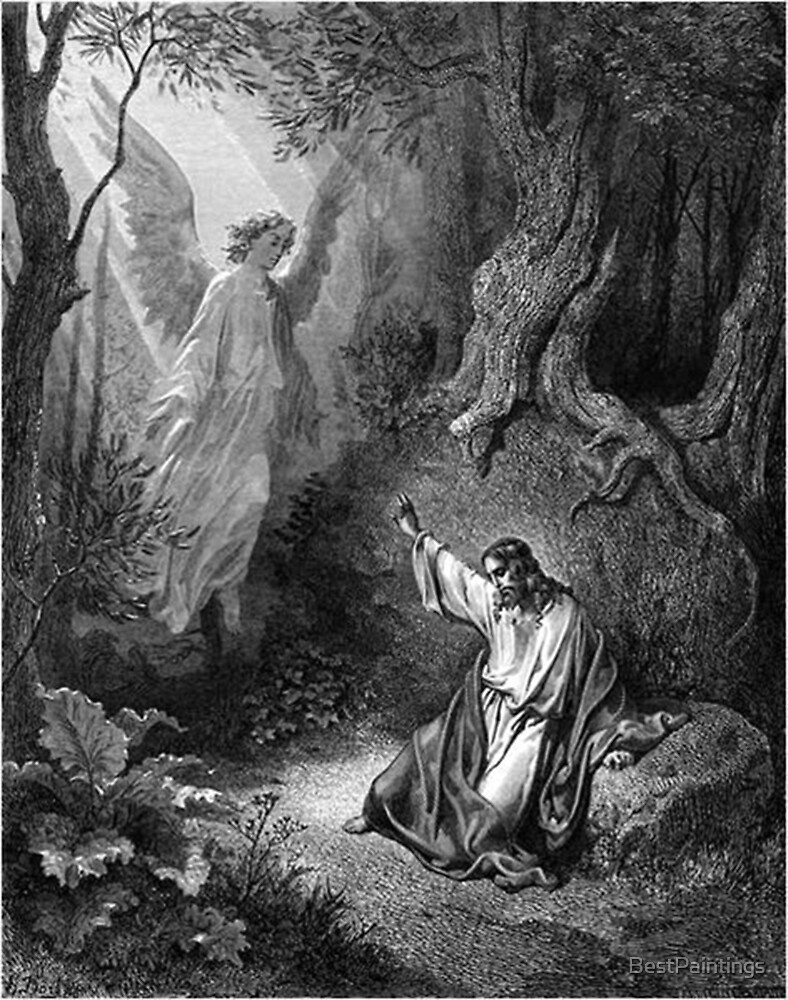 Gustave Dore - Jesus suffers agony in the garden of Gethseman by BestPaintings