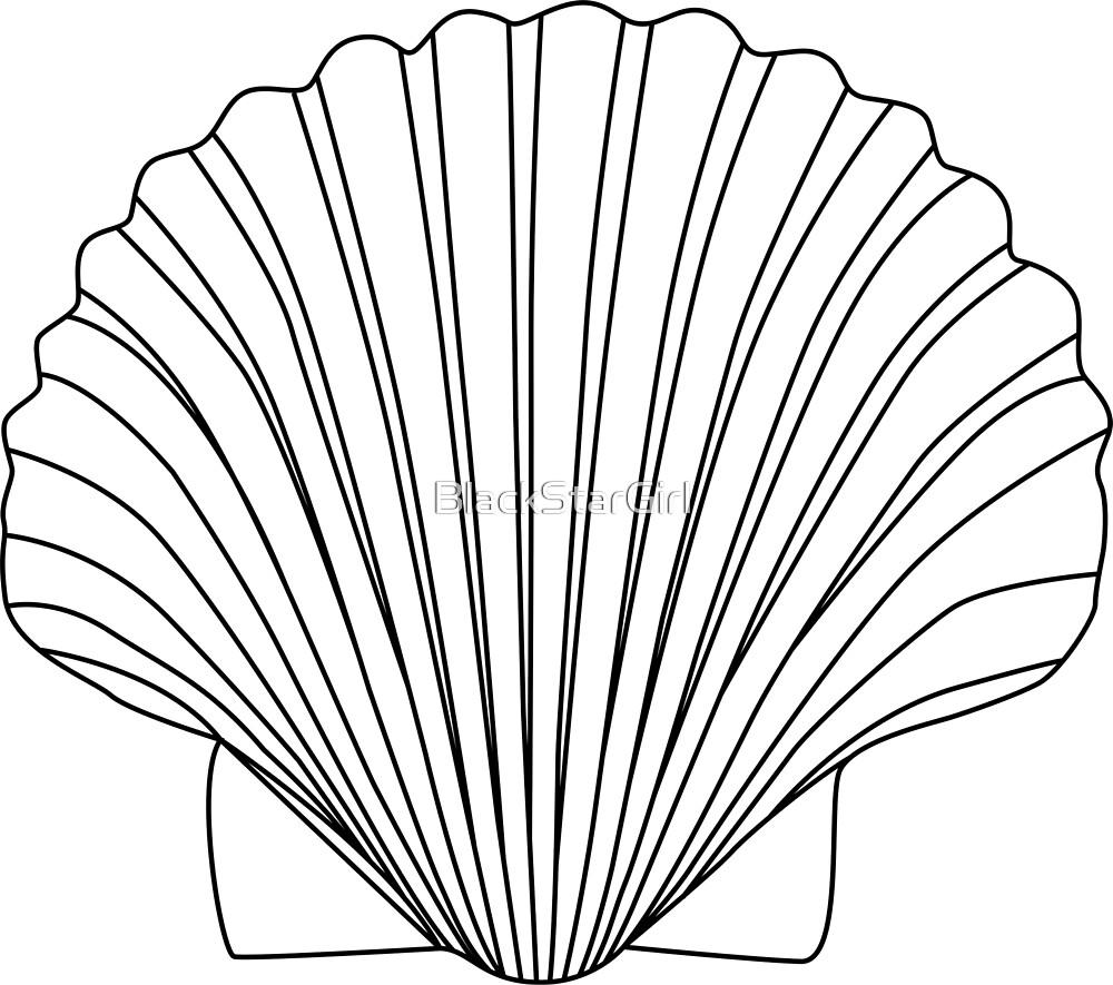 Black Clam Scallop Seashell by BlackStarGirl