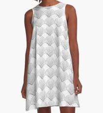 Black Clam Scallop Seashell A-Line Dress