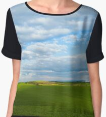 Open field  with blue sky Chiffon Top