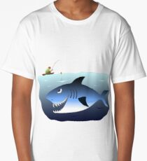 Fisherman being stalked by a great white shark Long T-Shirt