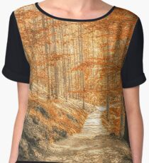Autumn forest leaves Chiffon Top