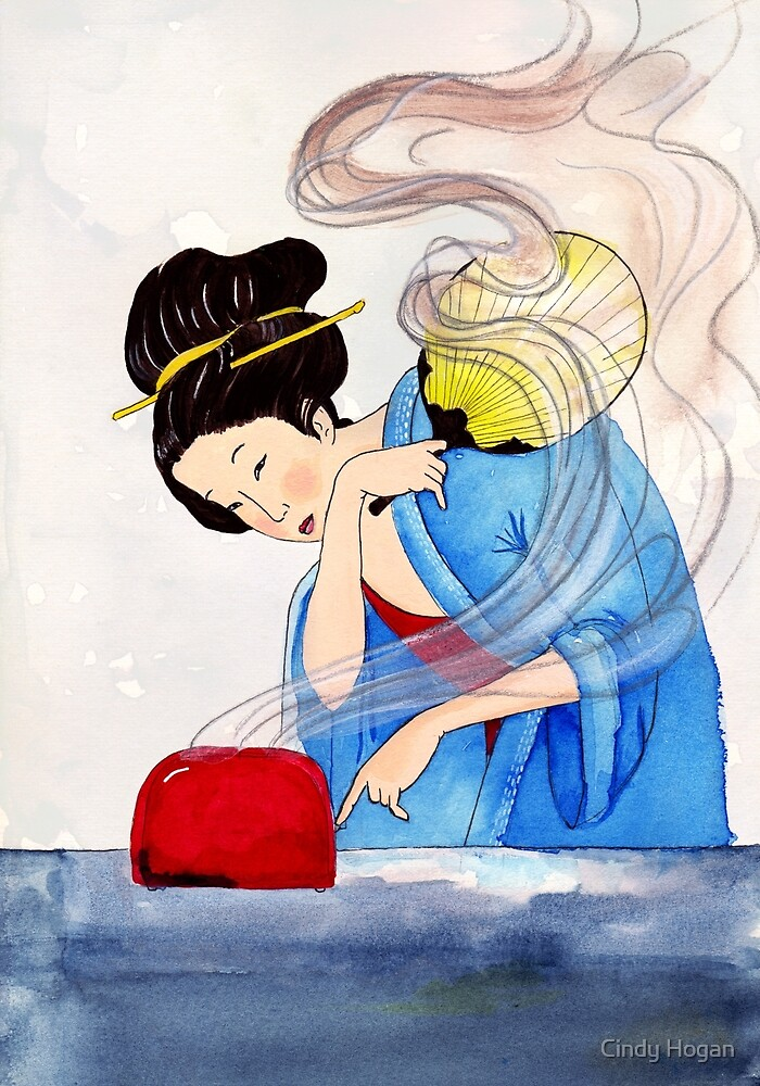 Mrs Hokusai Burns The Toast by Cindy Hogan