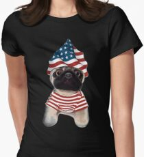 Fourth Of July Patriotic Pug Party Independence Day T Shirt Women's Fitted T-Shirt