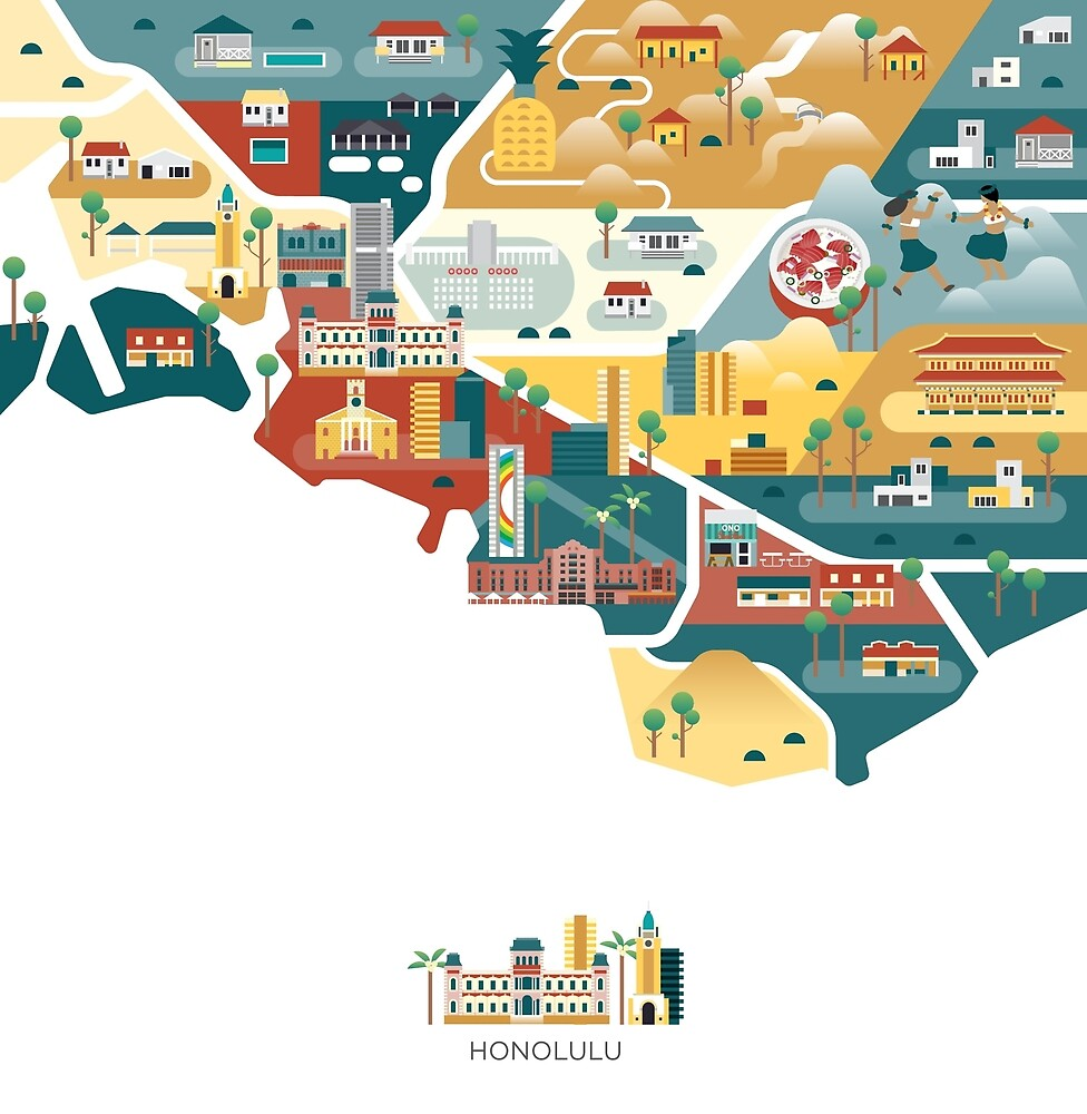 map - Honolulu by Jing Zhang