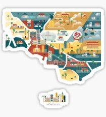 map - Honolulu Sticker