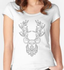 Deer head with big antlers Women's Fitted Scoop T-Shirt