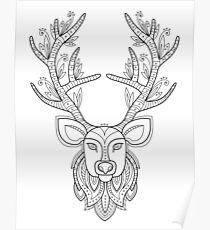 Deer head with big antlers Poster