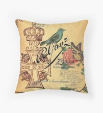 jubilee vintage cross distressed parchment french bird botanical  Throw Pillow