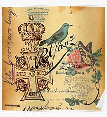 jubilee vintage cross distressed parchment french bird botanical  Poster