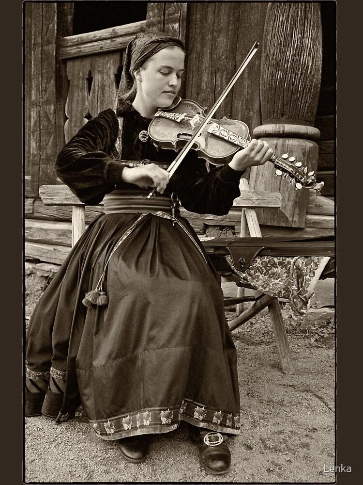 Hardanger fiddle player by Lenka