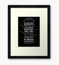 Chalk Drawn Components of Classic Cheeseburger Framed Print