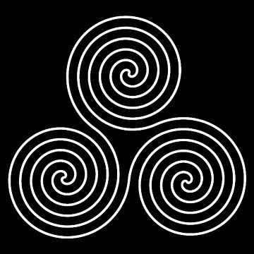 Neolithic, triple, spiral, symbol, Neo, Pagan, Triple Goddess symbol, WHITE on BLACK by TOMSREDBUBBLE