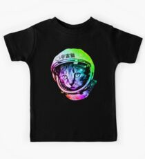 Space Cat in Astronaut Helmet (Uchū Neko) Kids Tee