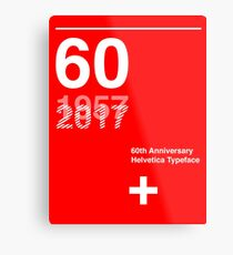 60th Anniversary  Helvetica Typeface Metal Print