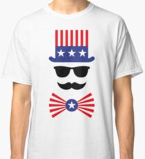 American Mustache (Hipster / Mustached / Beard / Uncle Sam) Classic T-Shirt