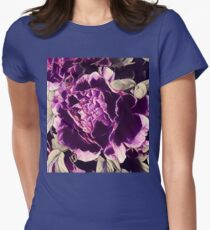 boho chic feminine botanical watercolor floral purple peony Womens Fitted T-Shirt