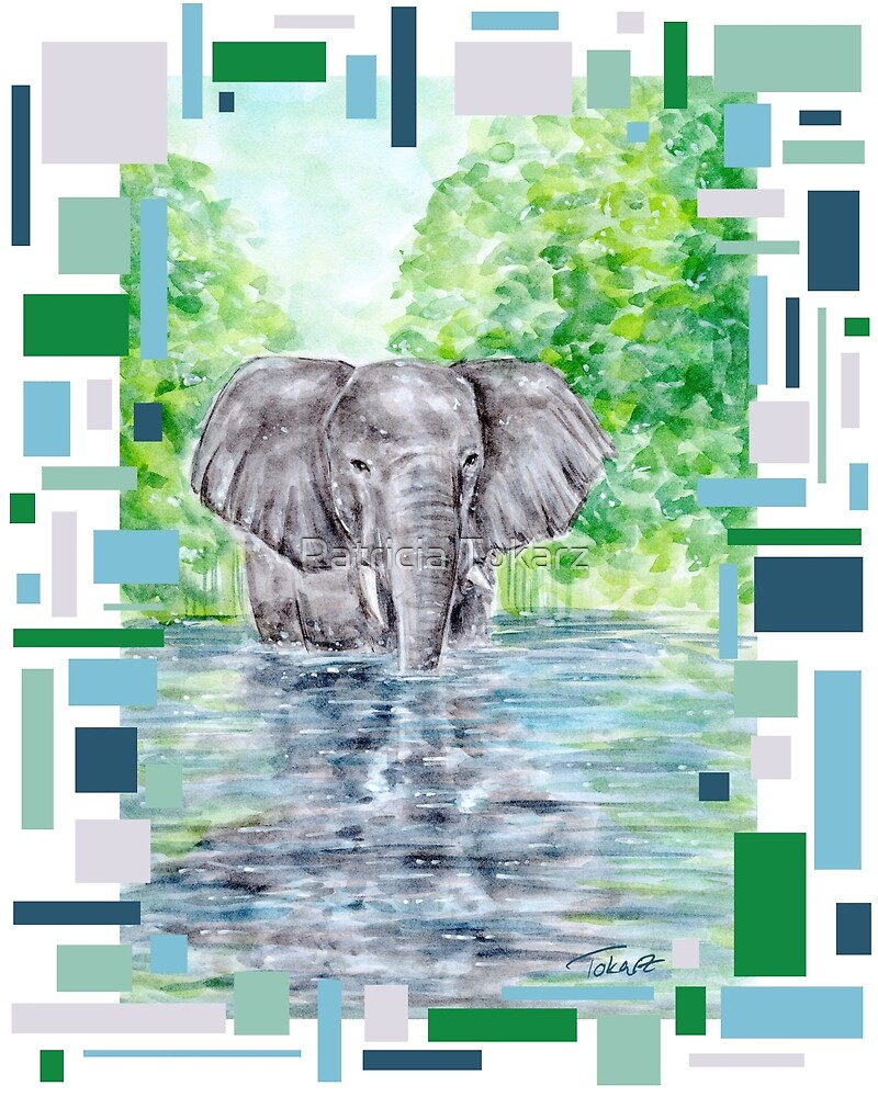 Elephant Reflection - Watercolour Painting/ Mixedmedia by Patricia Tokarz