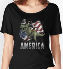 Abe Riding a Dinosaur!  Women's Relaxed Fit T-Shirt